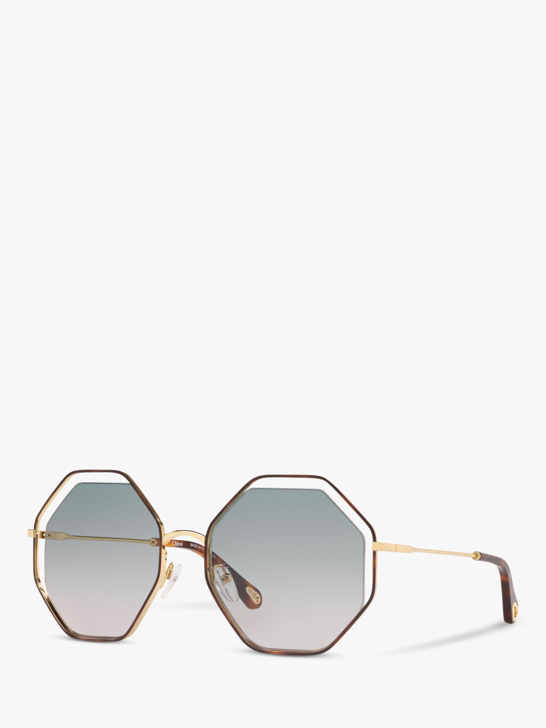 Chloe Chloé CE132S Women's Octagonal Sunglasses, Brown/Green