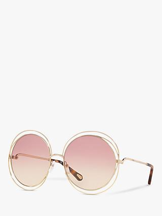 Chloé CE114SD Women's Double Rim Round Sunglasses, Gold/Pink