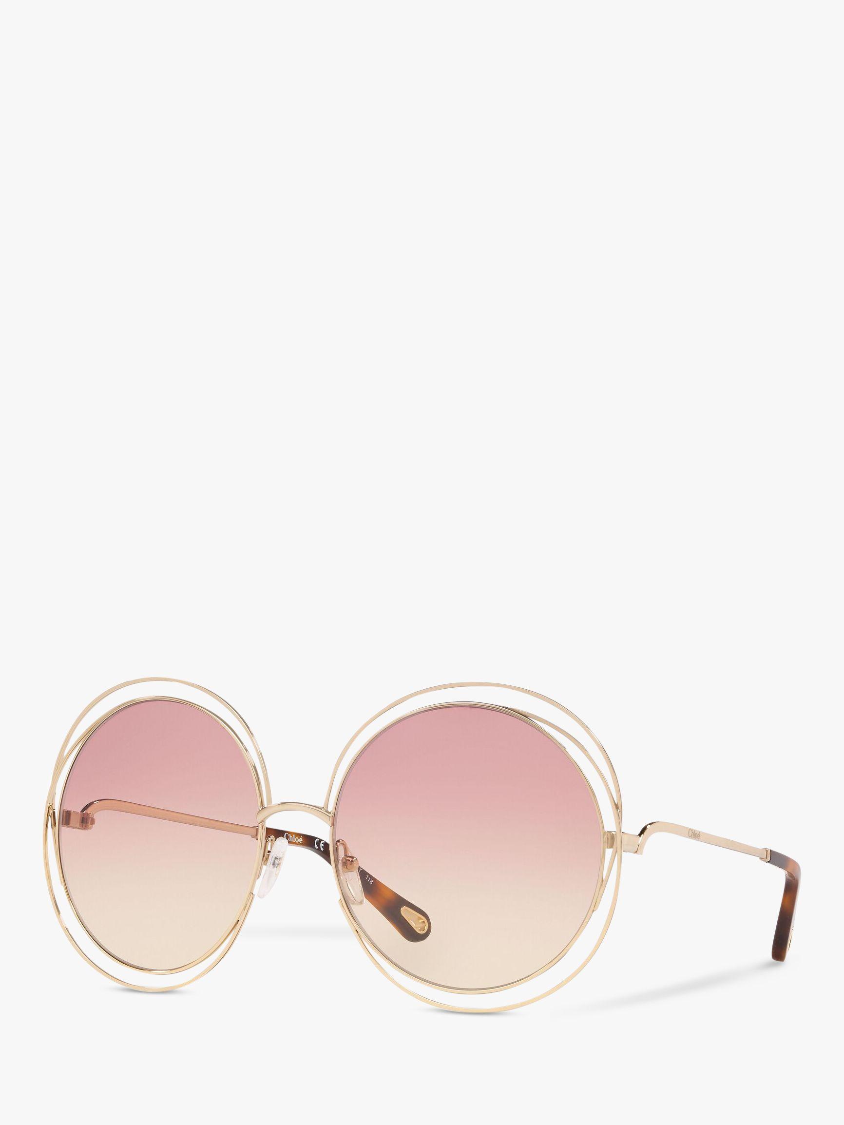 Chloe Chloé CE114SD Women's Double Rim Round Sunglasses, Gold/Pink