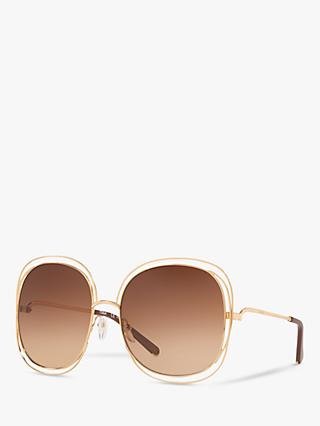 Chloé CE126S Women's Double Rim Round Sunglasses, Gold/Pink