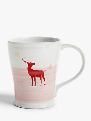 John Lewis & Partners Christmas Reindeer Mug, 400ml, White/Red