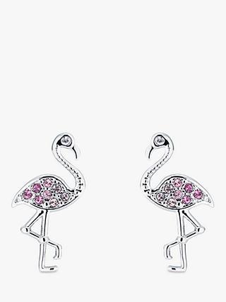 Ted Baker Faei Swarovski Crystal Ombre Flamingo Stud Earrings Silver Pink