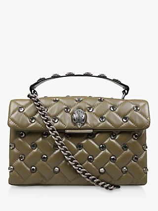 fceddd57c40 Kurt Geiger Kensington Stud Leather Shoulder Bag, Khaki