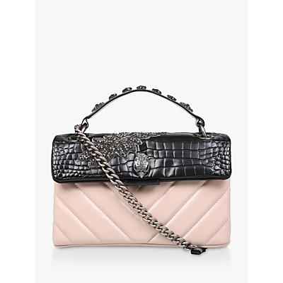 Kurt Geiger London Kensington Jewelled Leather Shoulder Bag, Black/Pink