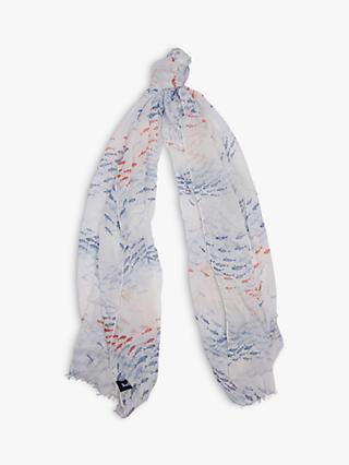 Barbour Schooling Fish Print Scarf, White/Blue