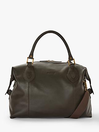 Barbour Leather Holford Explorer Holdall Bag, Dark Brown
