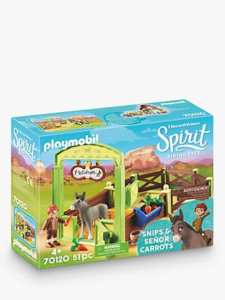 Playmobil Dreamworks Spirit Riding Free 70120 Snips and Señor Carrots Horse Stall