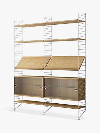 string Shelving Unit with Double Glass Door Cabinets, Shelves and Wall Fastened Side Racks, Oak/White