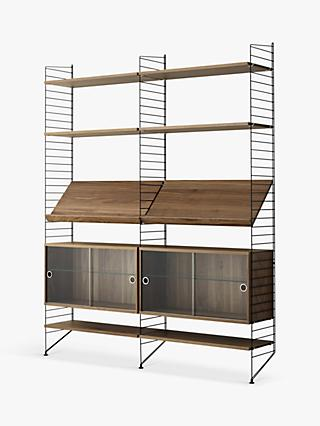 string Shelving Unit with Double Glass Door Cabinets, Shelves and Wall Fastened Side Racks, Walnut/Black