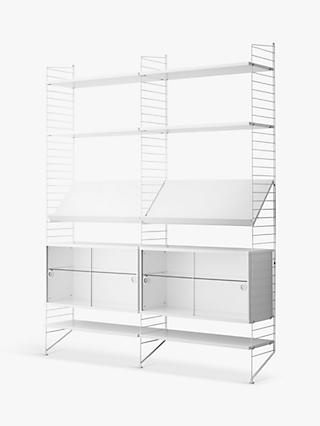 string Shelving Unit with Double Glass Door Cabinets, Shelves and Wall Fastened Side Racks, White