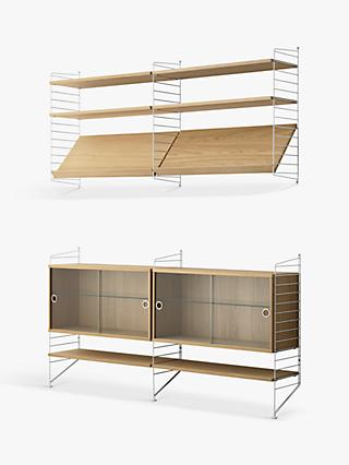 string Pair of Shelving Units with Double Glass Door Cabinets, Shelves and Wall Fastened Side Racks, Oak/White