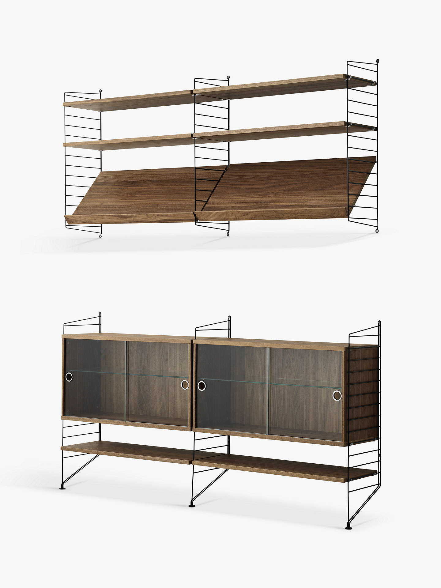 string pair of shelving units with double glass door cabinets rh johnlewis com
