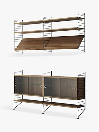 string Pair of Shelving Units with Double Glass Door Cabinets, Shelves and Wall Fastened Side Racks, Walnut/Black