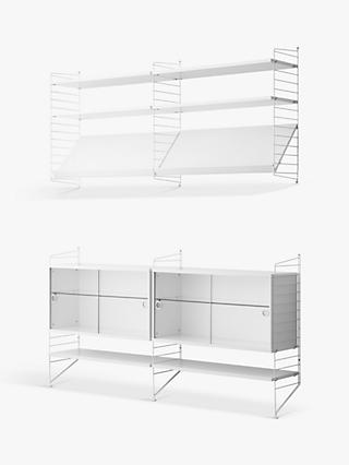 string Pair of Shelving Units with Double Glass Door Cabinets, Shelves and Wall Fastened Side Racks, White