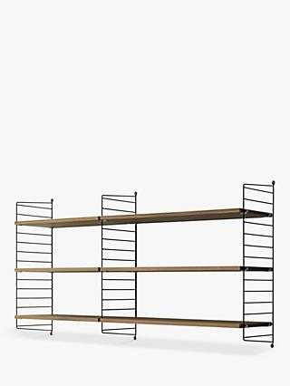 string Shelves and Wall Fastened Side Racks, Walnut/Black