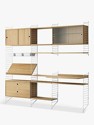 string Shelving Unit with Cabinets, Shelves, Bowl Shelf Section, Work Desk and Drawer Section, Oak/White