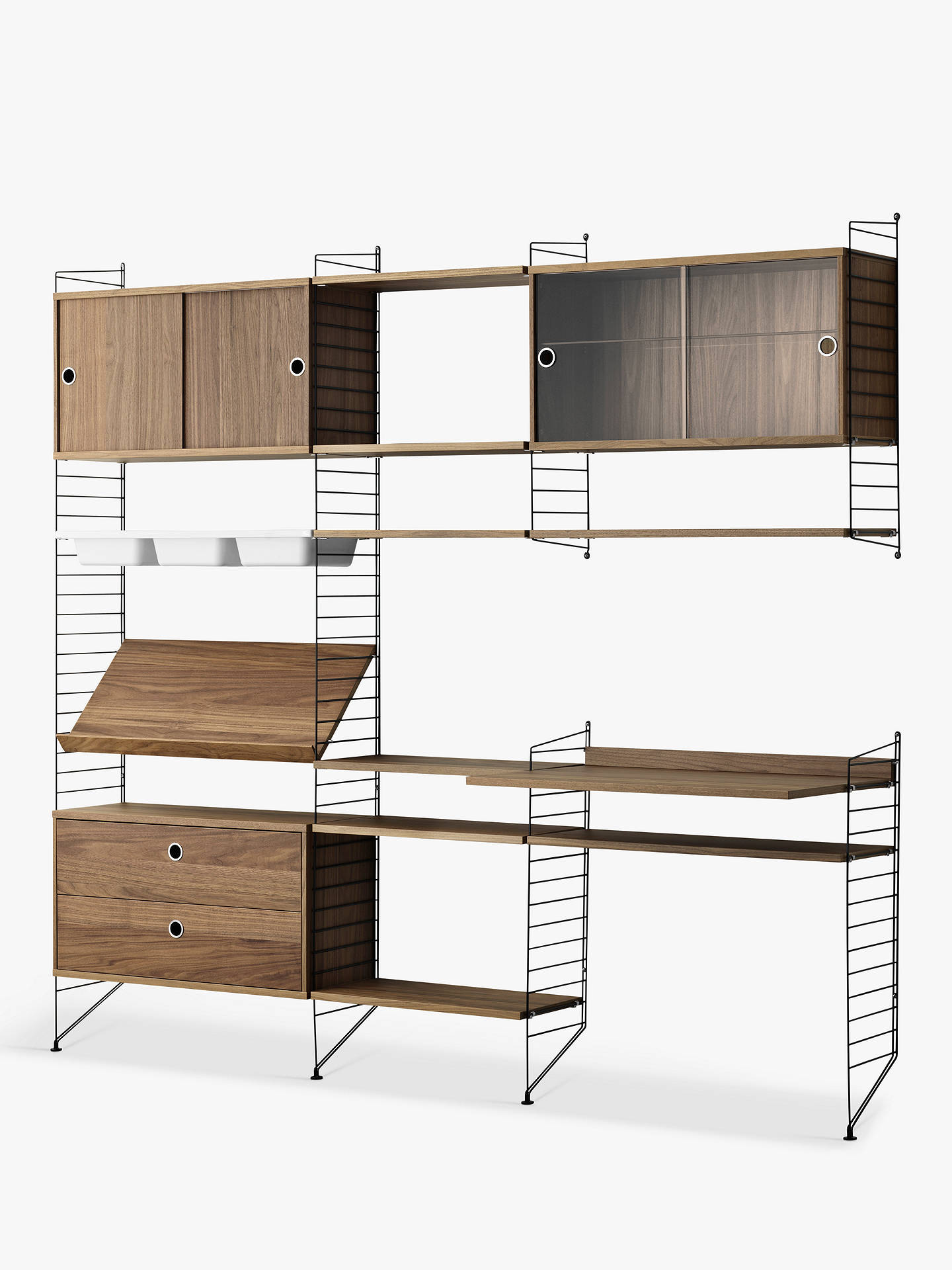 Enjoyable String Shelving Unit With Cabinets Shelves Bowl Shelf Section Work Desk And Drawer Section Walnut Black Beutiful Home Inspiration Cosmmahrainfo
