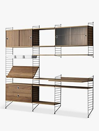 string Shelving Unit with Cabinets, Shelves, Bowl Shelf Section, Work Desk and Drawer Section, Walnut/Black