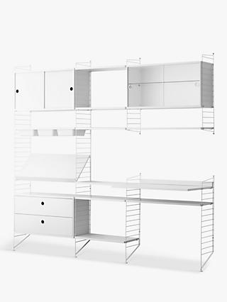string Shelving Unit with Cabinets, Shelves, Bowl Shelf Section, Work Desk and Drawer Section, White