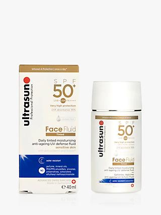 Ultrasun Face Fluid Tinted Moisturiser SPF 50+, Sensitive Skin, Tinted Honey