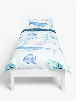 little home at John Lewis Under The Sea Reversible Duvet Cover and Pillowcase Set, Single, Blue