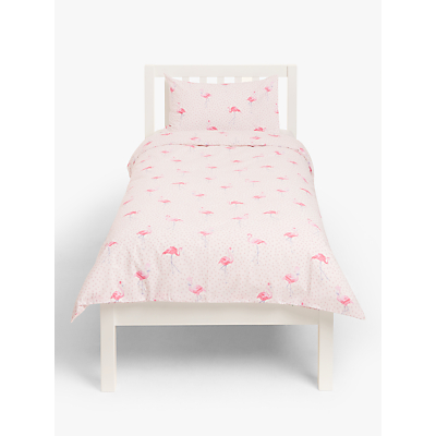 little home at John Lewis Phoebe Flamingo Duvet Cover and Pillowcase Set, Single, Pink