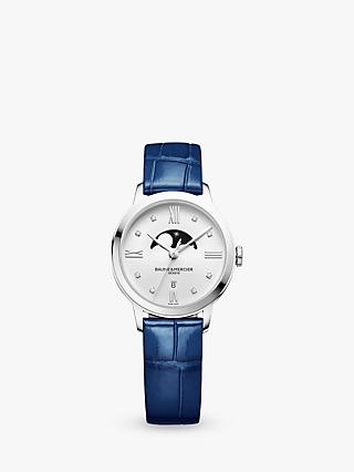 Baume et Mercier M0A10329 Women's Classima Diamond Moon Phase Bracelet Strap Watch, Silver/Blue