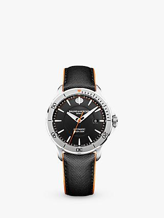 Baume et Mercier M0A10338 Men's Clifton Club Leather Strap Watch, Black