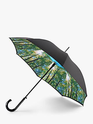 Fulton Sunburst Print Walking Umbrella, Black/Multi