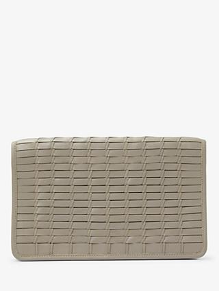 John Lewis & Partners Aria Leather Woven Clutch Bag, Grey