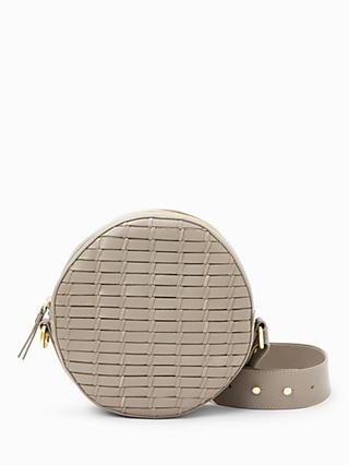 John Lewis & Partners Luna Leather Circle Cross Body Bag, Grey