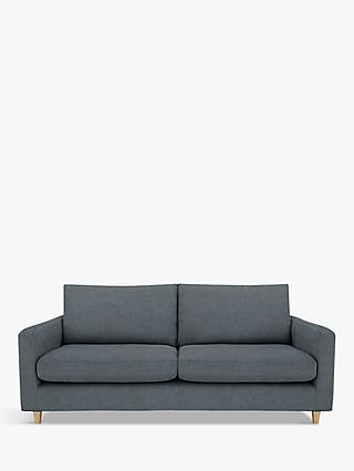 John Lewis & Partners Bailey Large 3 Seater Sofa, Light Leg, Hatton Steel