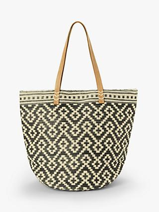 John Lewis & Partners Large Jute Cotton Shopper Bag, Grey Mix