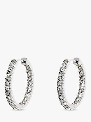 Melissa Odabash Swarovski Crystal Large Hoop Earrings, Silver