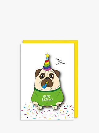 Tache Crafts Pug Birthday Card