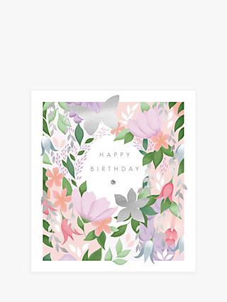 Woodmansterne Pink Pastel Flowers Birthday Card