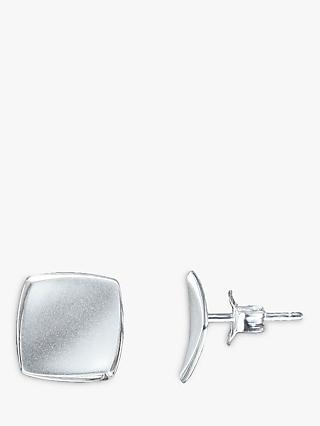 Nina B Concave Square Stud Earrings, Silver