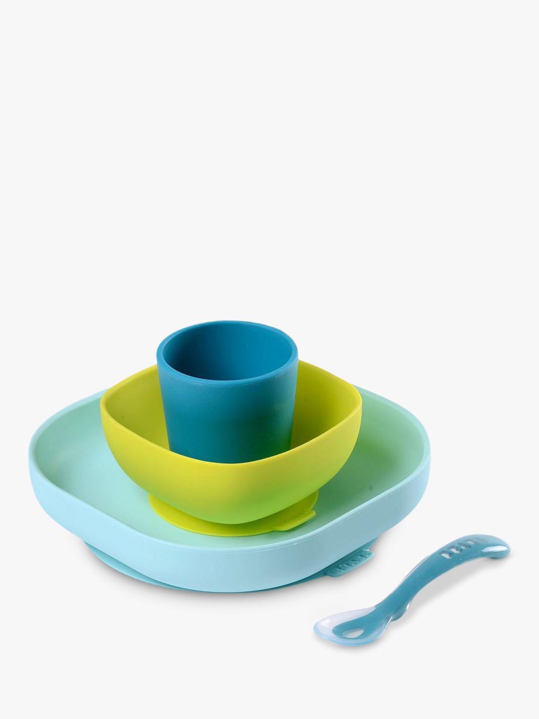 Beaba Beaba Silicone Feeding Set, 4 Pieces, Blue