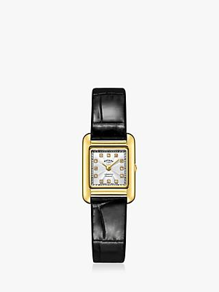36705cb836e91 Rotary LS05288 70 D Women s Cambridge Diamond Leather Strap Watch