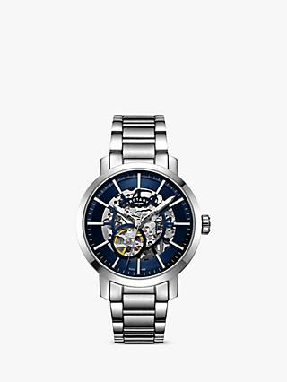 Rotary GB05350/05 Men's Greenwich Skeleton Automatic Bracelet Strap Watch, Silver/Blue