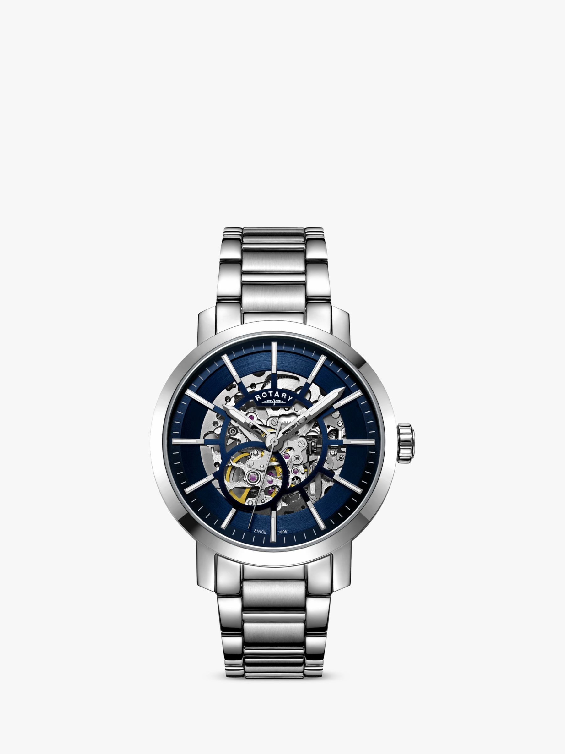 Rotary Rotary GB05350/05 Men's Greenwich Skeleton Automatic Bracelet Strap Watch, Silver/Blue