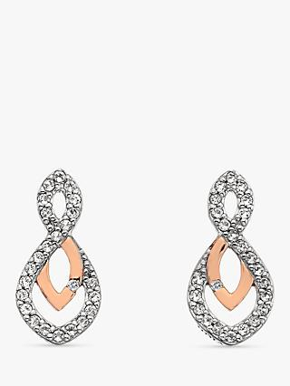 e429e6a93 Hot Diamonds Two Tone White Topaz and Diamond Drop Earrings, Silver/Rose  Gold