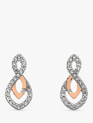 15e86b547df Hot Diamonds Two Tone White Topaz and Diamond Drop Earrings