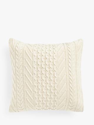 John Lewis & Partners Organic Cotton Knit Cushion, Marshmallow