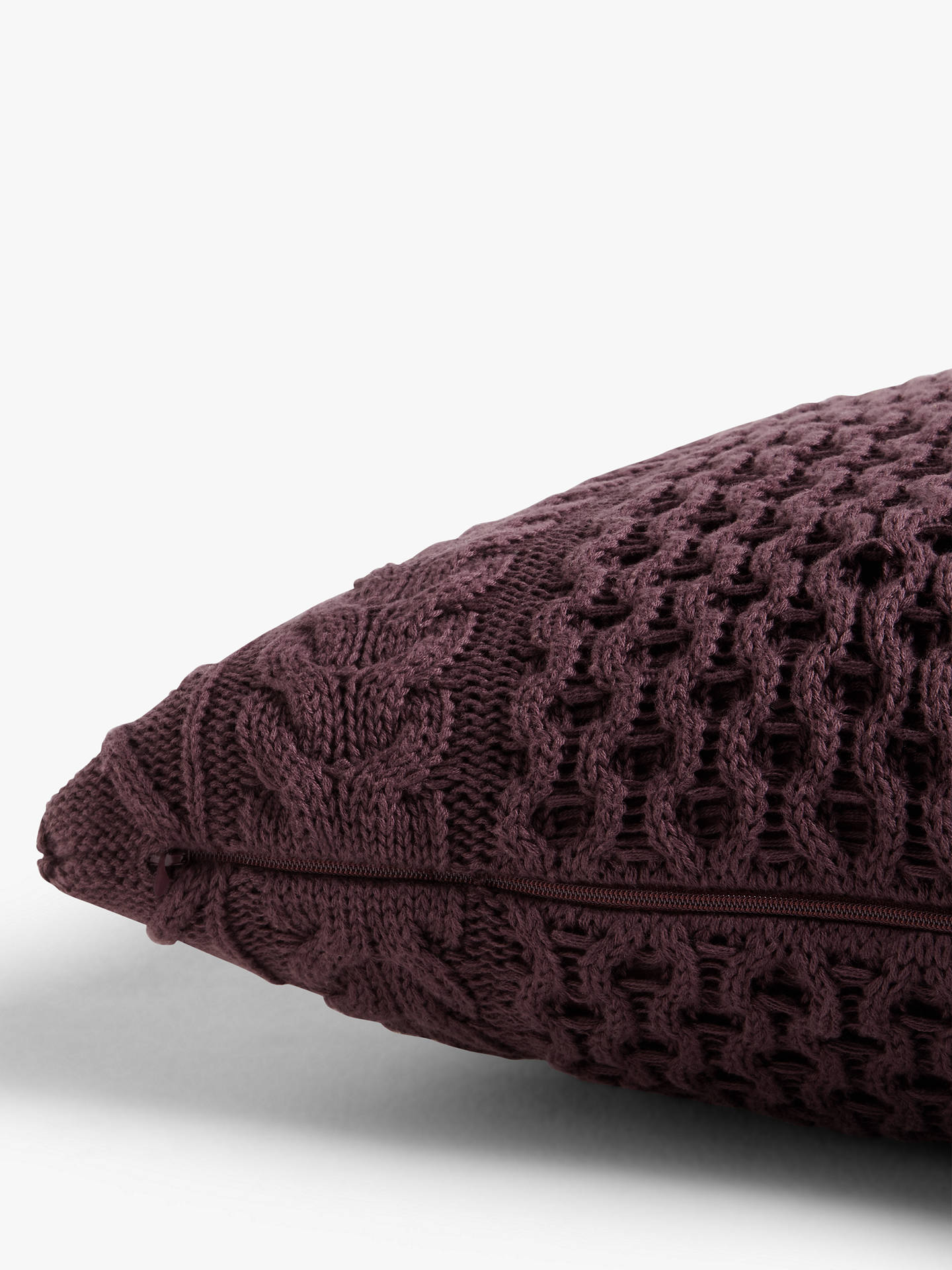 Buy John Lewis & Partners Organic Cotton Knit Cushion, Plum Online at johnlewis.com