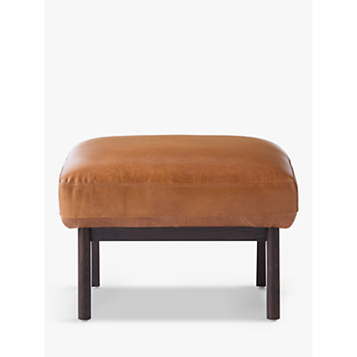 west elm Ryder Leather Ottoman, Saddle Leather
