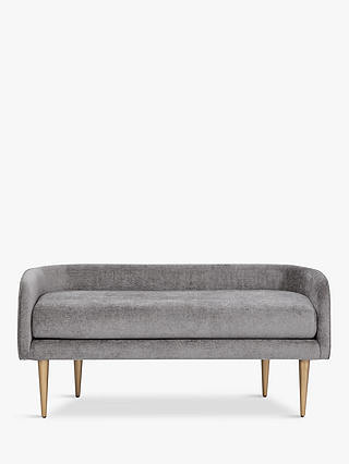 Buy west elm Celine Bench, Metal Worn Velvet Online at johnlewis.com