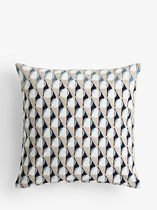 John Lewis & Partners Eave Embroidery Cushion, Navy / Grey