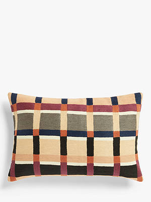 Buy John Lewis & Partners Oriel Cushion, Auburn / Navy Online at johnlewis.com