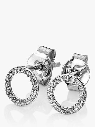 Hot Diamonds Infinity 9ct White Gold Diamond Stud Earrings